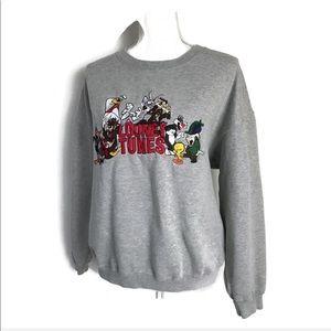 Vintage 90s Looney Tunes  Fleece Sweat Shirt Gray